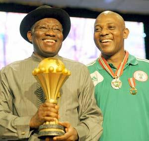 President Goodluck Jonathan and Stephen Keshi