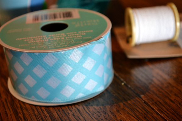 Blue checkered ribbon for bow