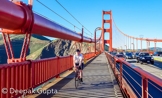 This year in February, I, with many of my friends and colleagues from office, got a chance to visit San Francisco for a conference. The duration was of one week. It was a tightly packed schedule and we were determined to make the most out of it.  Biking was one of the agendas that was in our minds. Few people in our group had already heard good things about it. On Sunday afternoon, we started our hunt for a good and relatively cheaper shop from where we could rent the bikes.   We started our biking journey which was from Fisherman's Wharf to Sausalito. Fisherman's Wharf is a super fun place where you can roam around, eat and drink and enjoy in open air restaurants.