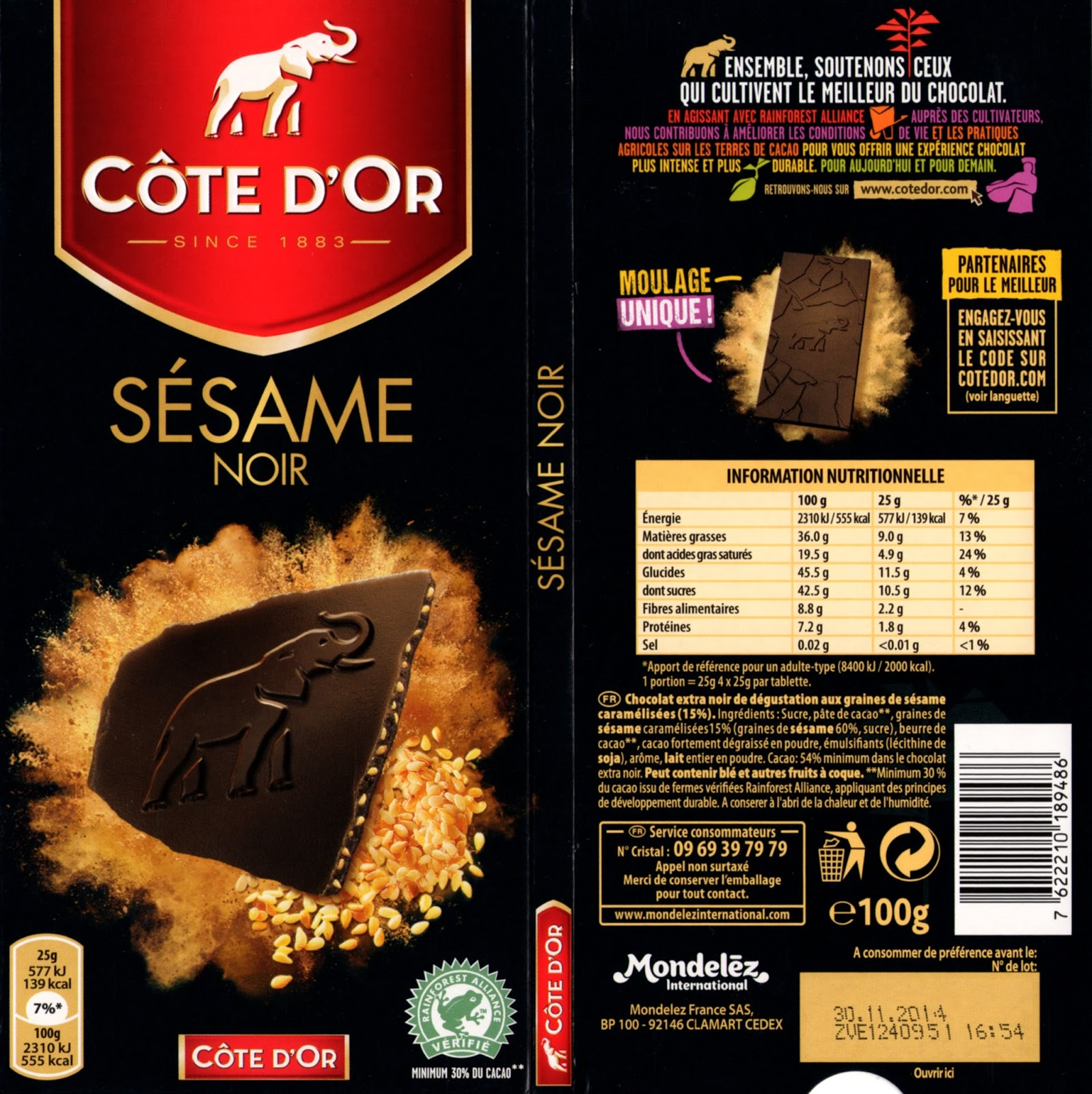 tablette de chocolat noir gourmand côte d'or sésame noir