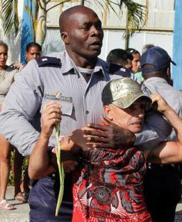 La brutal fuerza policial en contra de un hombre armado con un gladiolo