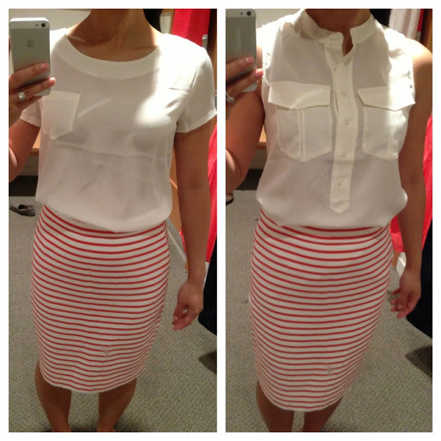 J.crew Factory Pencil Skirt in Nautical Stripe in Tangier Orange