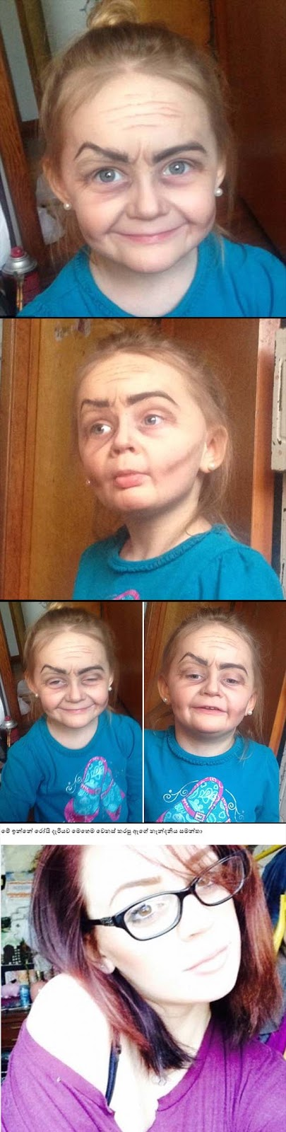 Make up artist turns a 3-year-old Girl into a old woman