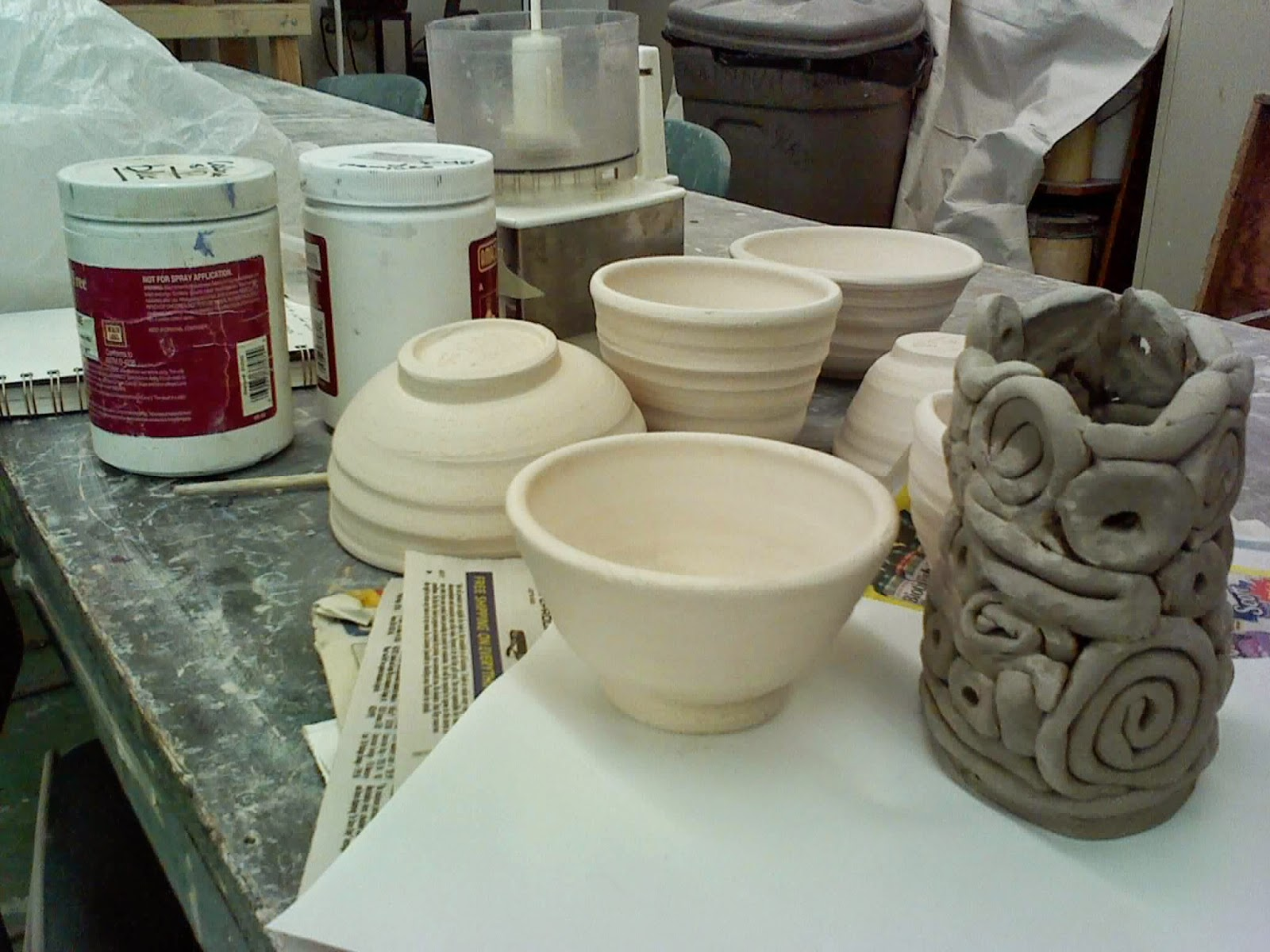 at the pottery class