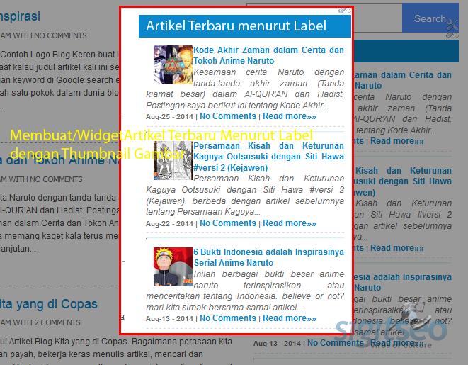 Membuat Artikel Terbaru / Post Sidebar Menurut Label dengan Thumbnail Gambar