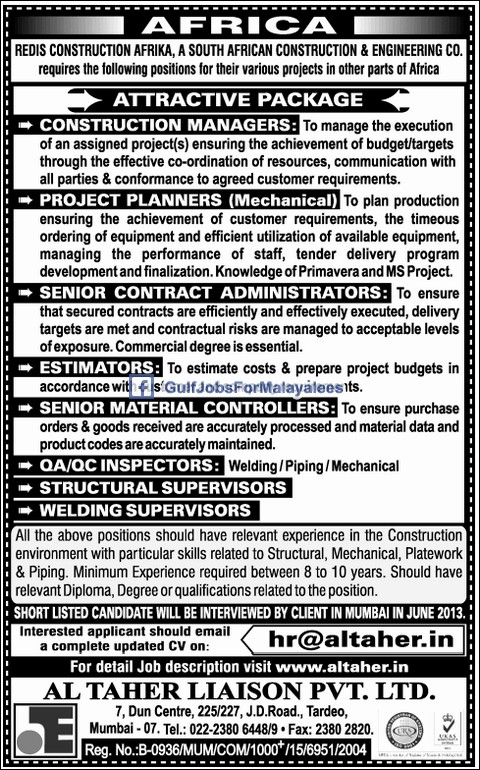 Redis Construction South Africa Vacancies Gulf Jobs For