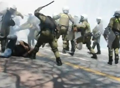 Athens Greece Bankers Riot Police Kick and Beat Savagely Isolated Protester