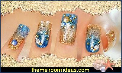 beach-themed nails - mermaid themed nail ar - nautical themed nail art design - ocean nail decorations - sea world animal theme - ocean nail stick on art