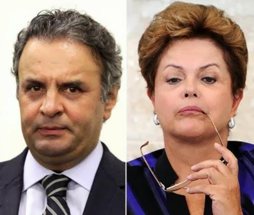 Dilma e visto aos beijos com Aécio Neves