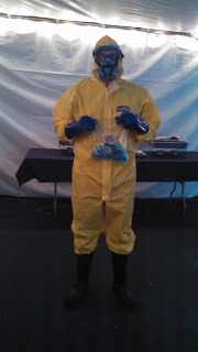 costume consisting of yellow chemical suit and mask based on breaking bad amc tv show