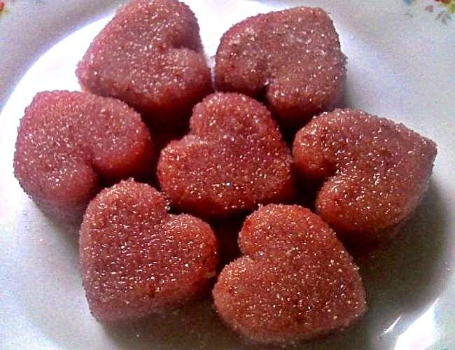 Gelatinas bombón de frambuesa