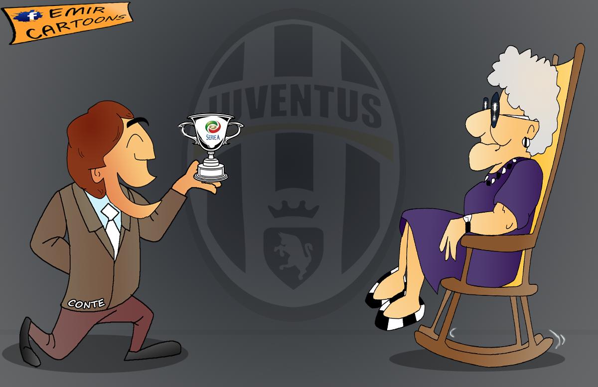 Juventus champions Seria A,Juventus, champions, Seria A,conte,emir cartoons,emir balkan cartoons, fudbal,karikature,karikatura dana,