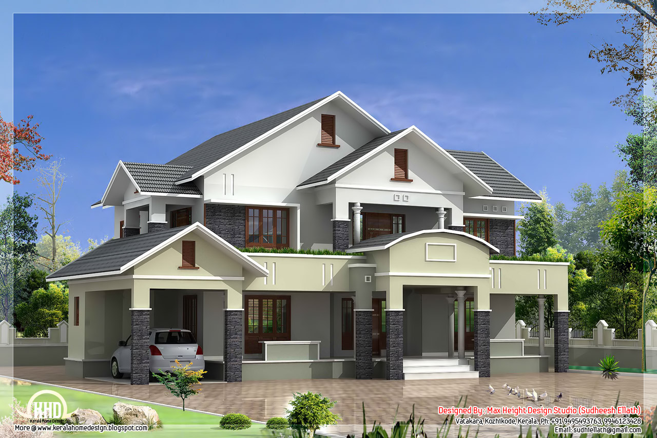 4 bedroom sloped roof house in 2900 kerala home for Beautiful 4 bedroom house designs