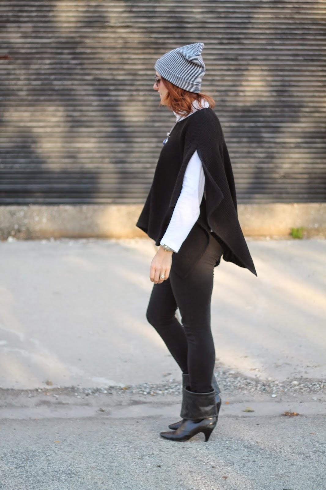 black, poncho