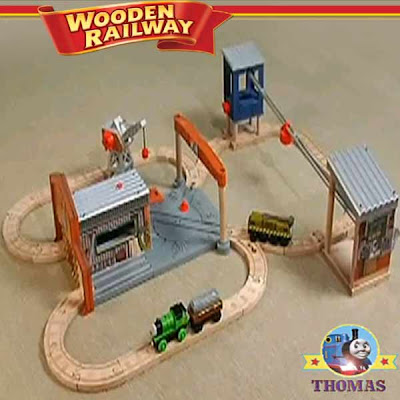 The Day of the diesels Thomas wooden railway layout glowing light Thomas and friends diesel shed toy