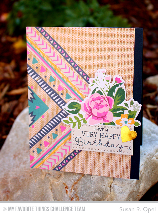 Very Happy Birthday Card by Susan R. Opel featuring the Laina Lamb Designs Delicious Birthday stamp set and Cross-Stitch Rectangle STAX Die-namics