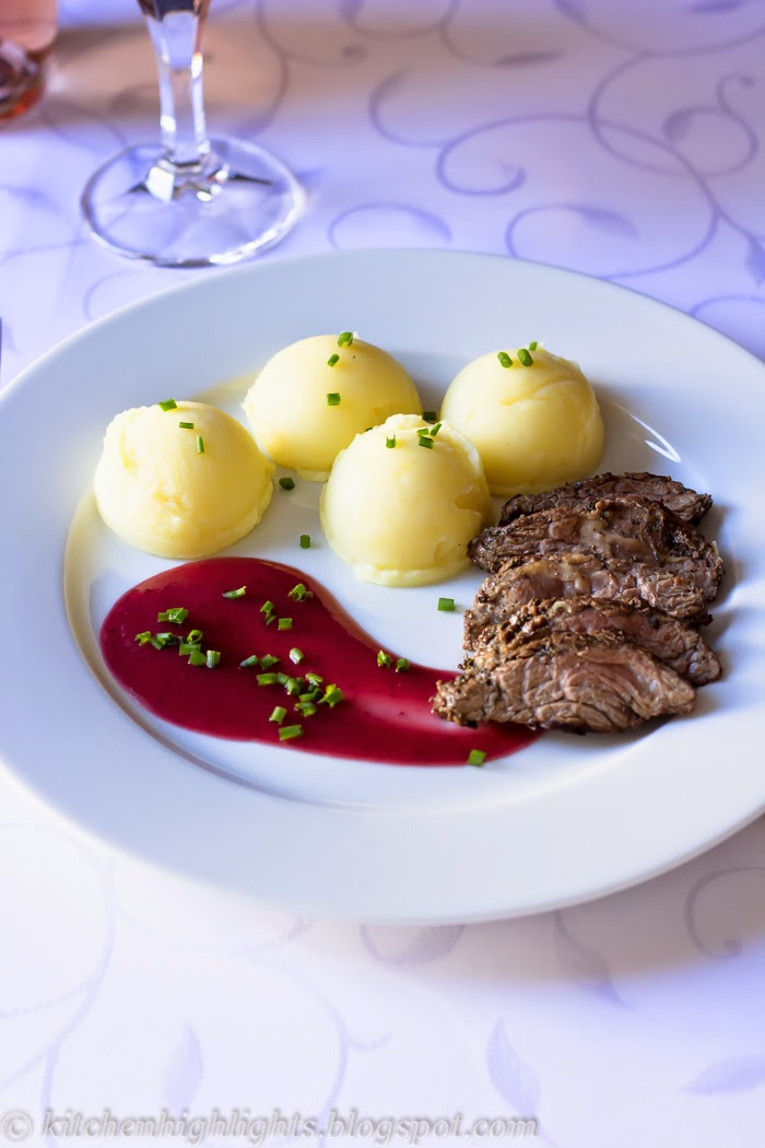 Tender beef sirloin served with a rich and velvety cranberry sauce is a beautiful option for a deliciously romantic dinner.