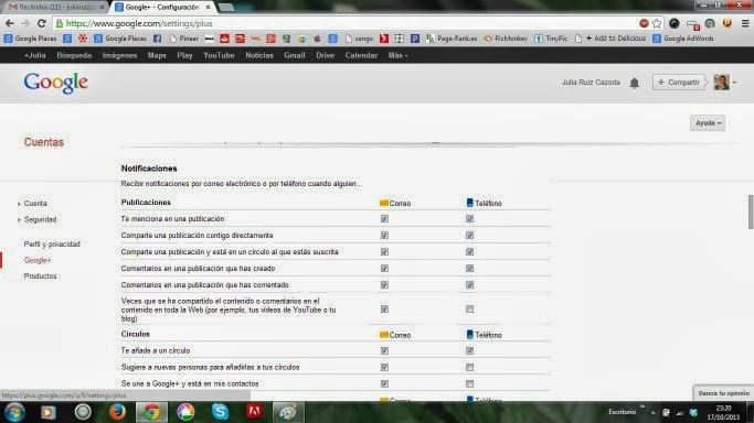 Notificaciones Google Plus