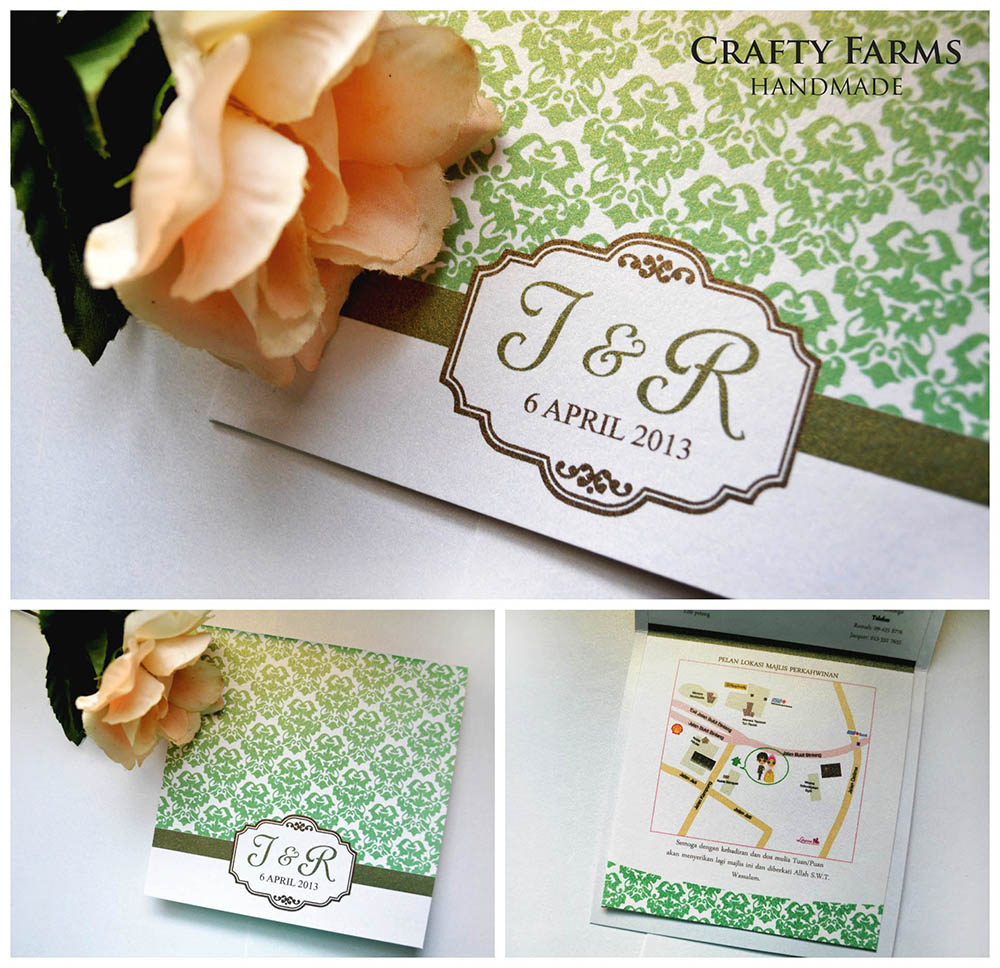 Wedding Card Malaysia | Crafty Farms Handmade : Emerald Green Damask ...