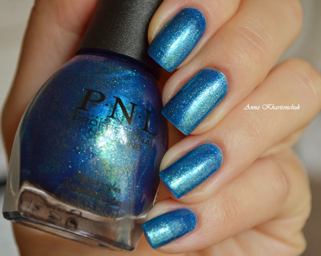 P.N.L #124 Splendid Blue Shimmer и стемпинг MoYou London Sailor – 05
