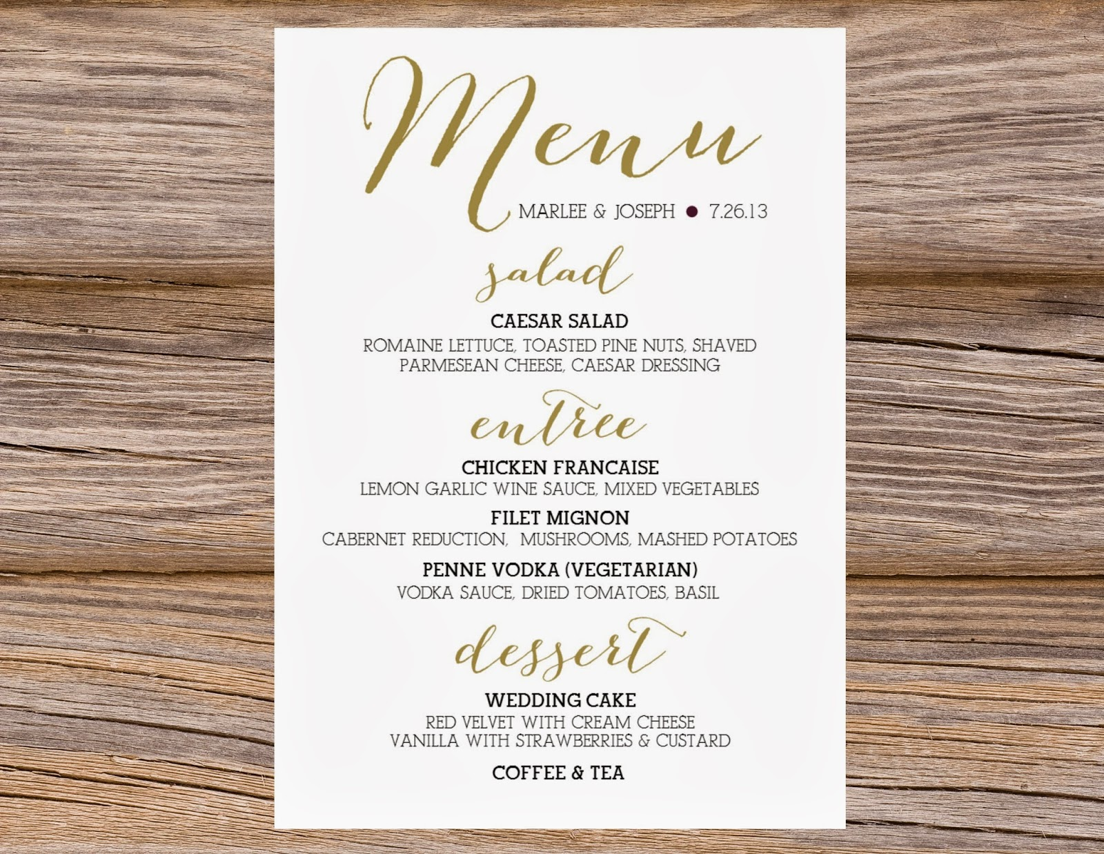 calligraphy menus wedding menus As usual we can customize the colors etc We can even pull the exact color from an invitation or dress photo if provided for an exact match