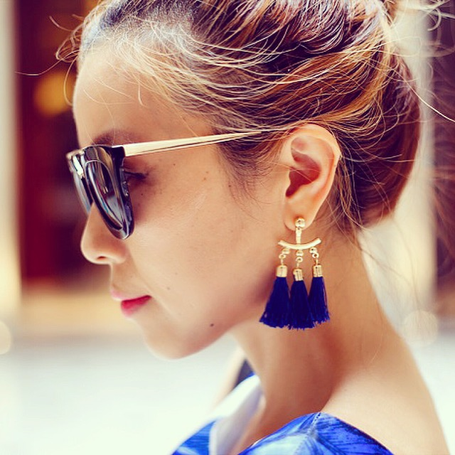 baublebar earrings, tassel earrings, prada sunglasses, fashion blog