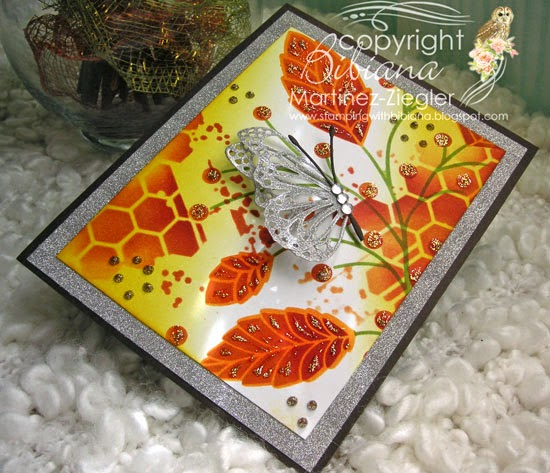 fall stencil butterfly card flat