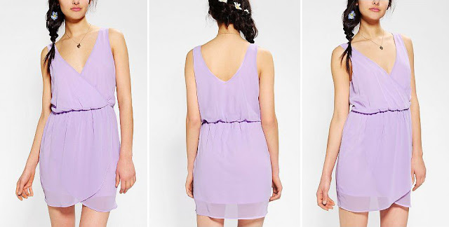 Pins And Needles Silky Surplice Tulip Dress, urban outfitters dress, lilac dress