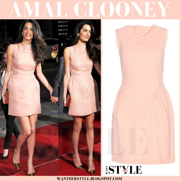 Amal Clooney in pink roland mouret zonda mini dress on the red carpet what she wore red carpet look