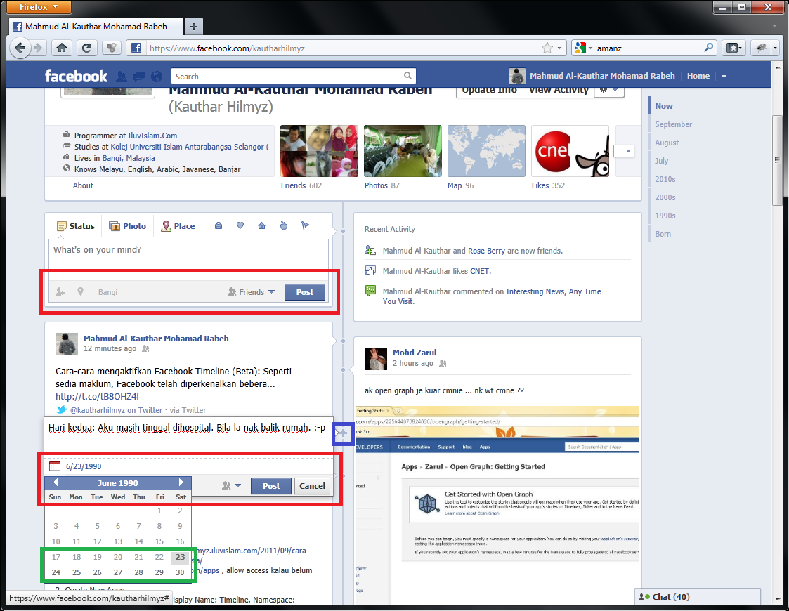 Different Cara cara mengaktifkan Facebook Timeline (Beta)