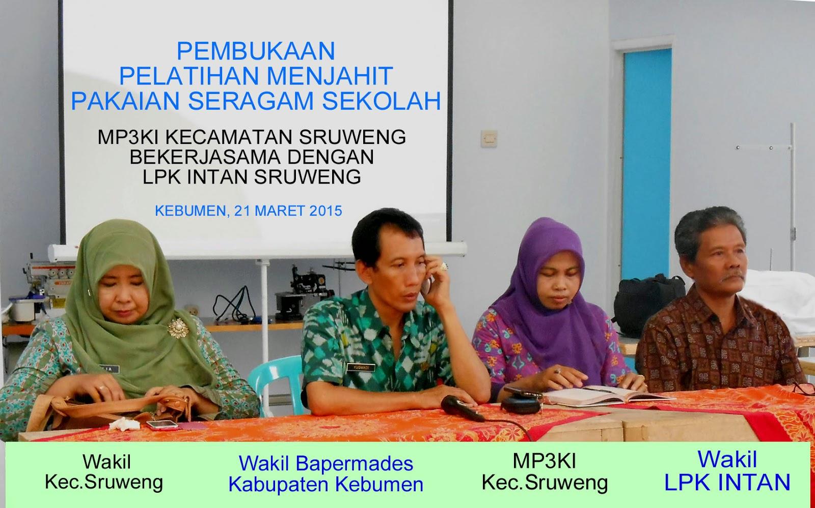 Pelatihan Menjahit MP3KI Kec Sruweng