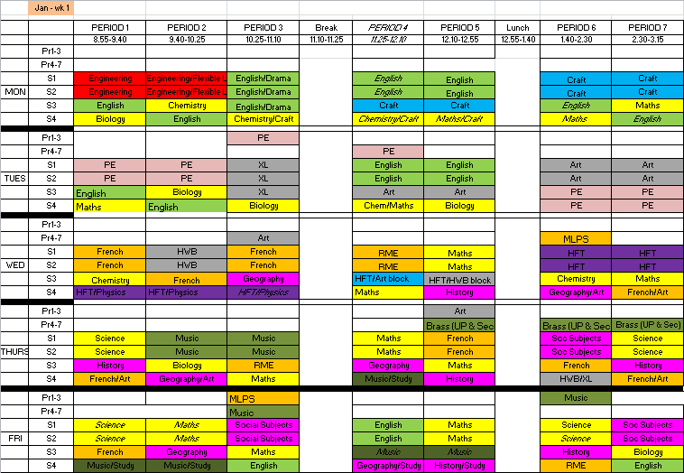 Stronsay junior high school 39 s blog new 2016 school timetable for Tekerala org time table 2015