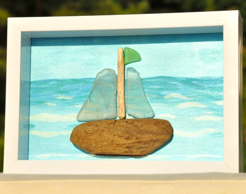 framed sea glass art