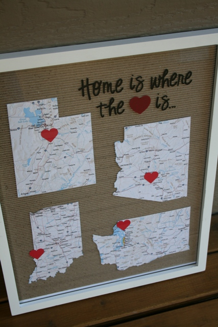 Home is Where the Heart Is - Framed Maps Tutorial - Eat Pray Create
