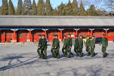 Guard marching inside the Forbidden city.