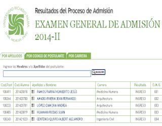 Resultados ingresantes URP 2014-II Universidad Ricardo Palma, 1 de Agosto