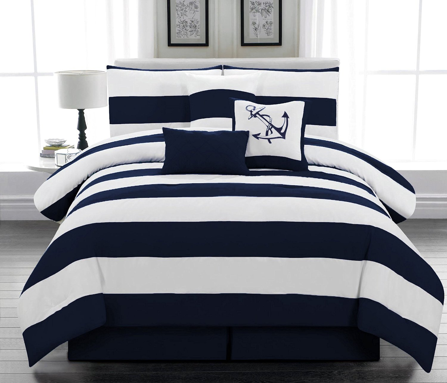 navy blue and white comforter and bedding sets. Black Bedroom Furniture Sets. Home Design Ideas