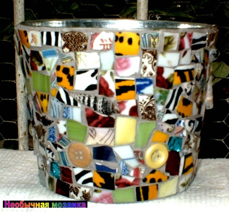 Кашпо с мозаикой своими руками 24