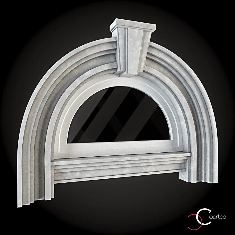 Ornameate Geamuri Rotunde Exterior, fatade case cu profile decorative polistiren, profile fatada,  Model Cod: WIN-083
