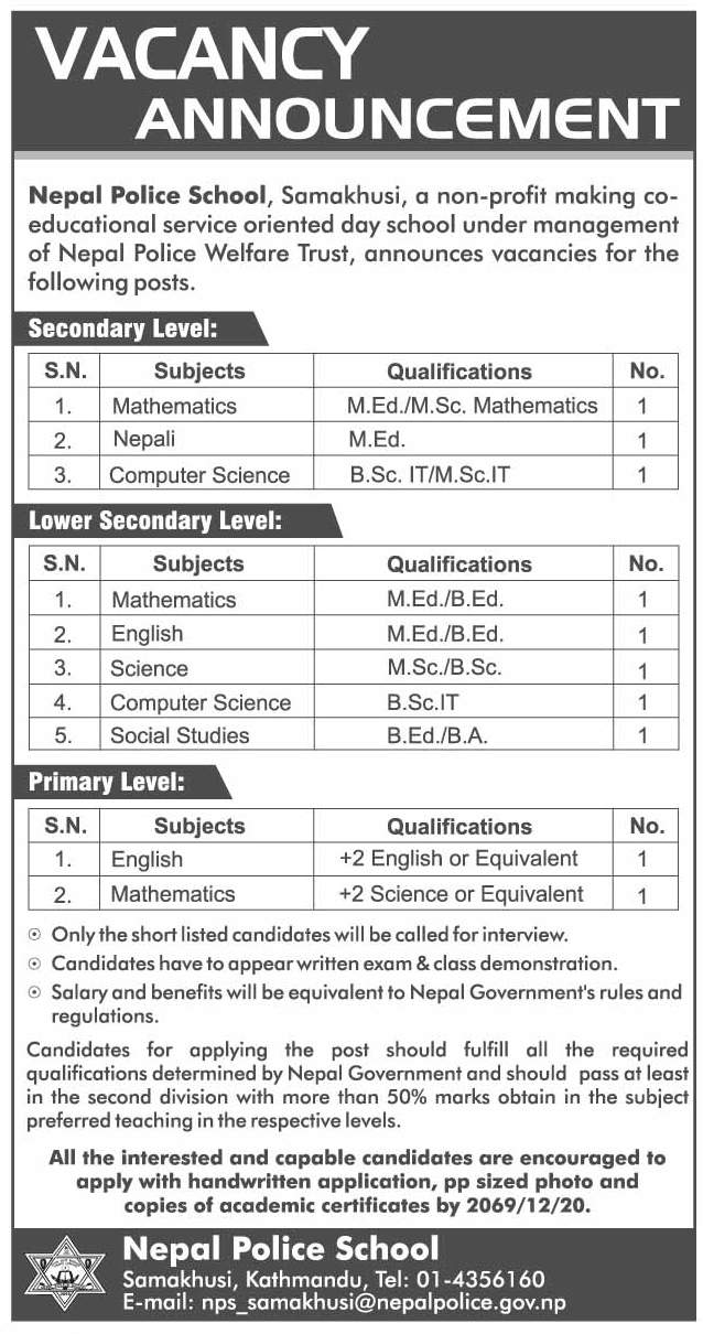 Vacancy Announcement Nepal Police School Jobs In Nepal