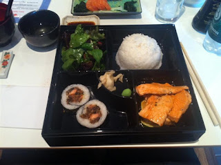 Stitch and Bear - Salmon bento box at Michie Sushi