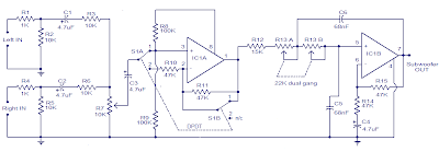 Car Subwoofer filter using OP Amp IC TL072