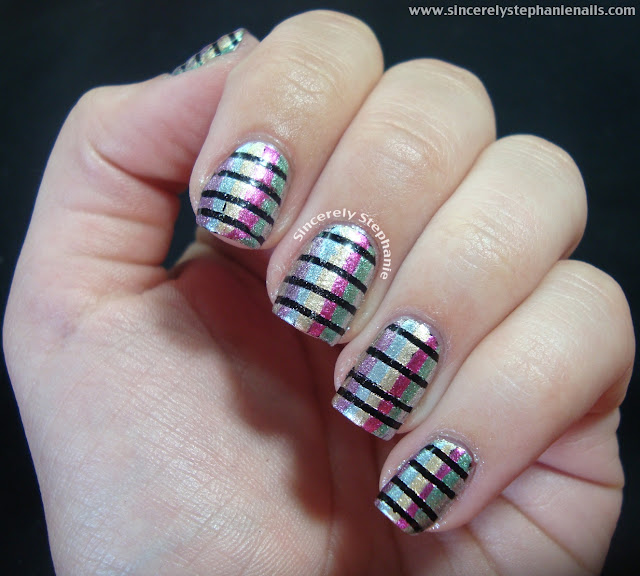 horizontal and vertical lines nail art