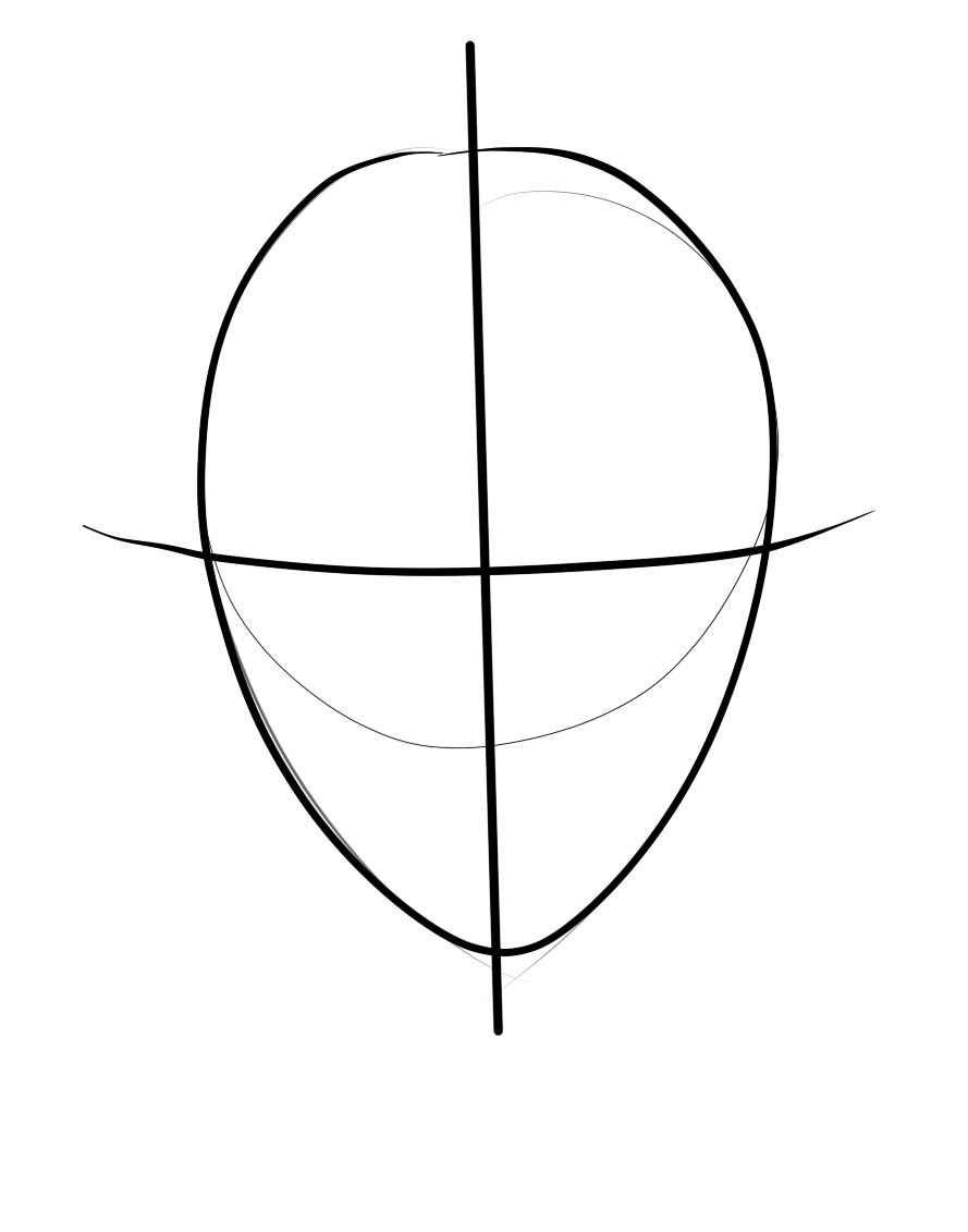 Draw A Cross Line At The Middle Of Egg Shaped Head Outline