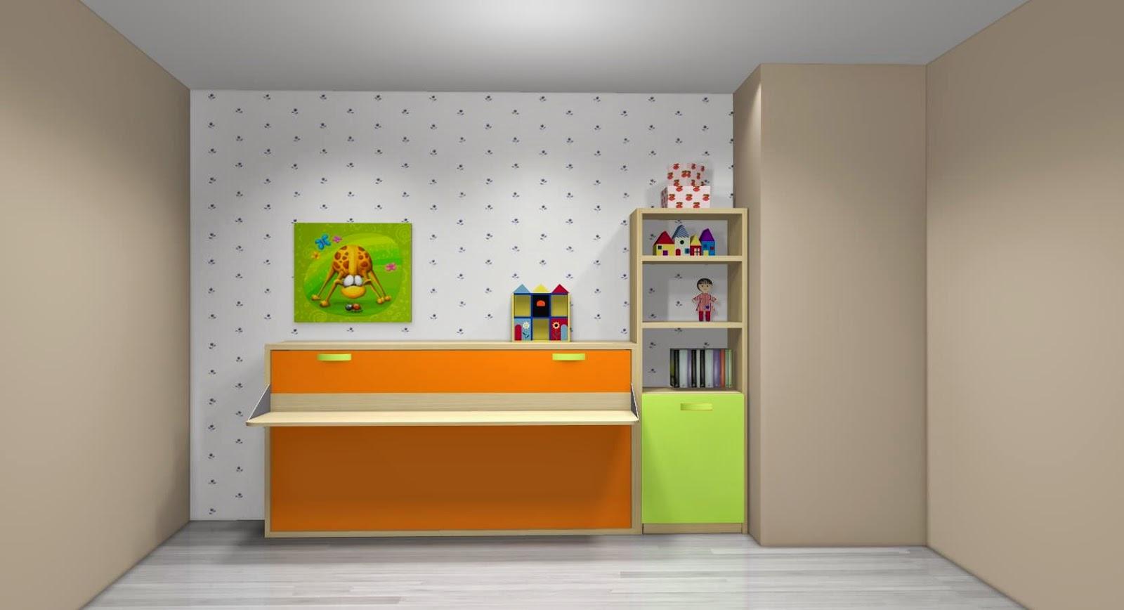 Dormitorio infantil con cama abatible con mesa de estudio for Dormitorios juveniles camas abatibles con escritorio