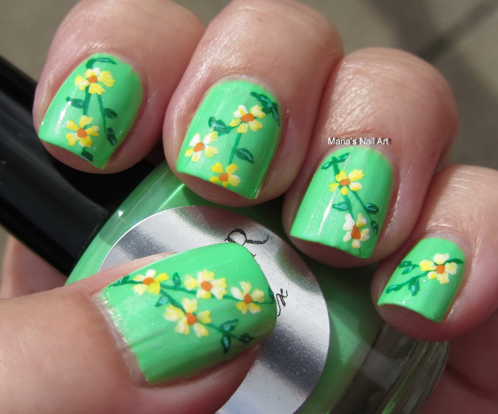 flowers on the heather nail art