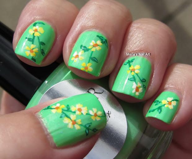 flowers heather nail art
