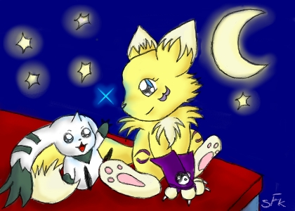 Renamon and Terriermon por Silver-Fox-Kitsune