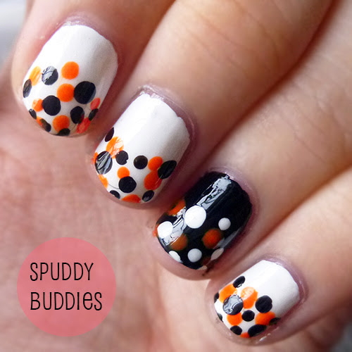 spud nails easy dotted halloween