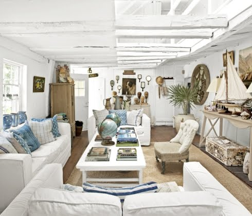 rustic white washed sea cottage built from a ship  completely coastal, Living room